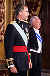 Ambassador of Per&uacute; SR. Rafael Roncagliolo Orbegoso present his credentials to King Felipe VI of Spain during royal audiences at Zarzuela Palace in Madrid, July 27, 2015. <br /> (ALTERPHOTOS/BorjaB.Hojas)