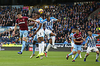 West Ham United's Declan Rice and Issa Diop challenge Huddersfield Town's Terence Kongolo and Mathias Zanka Jorgensen<br /> <br /> Photographer Rob Newell/CameraSport<br /> <br /> The Premier League - Huddersfield Town v West Ham United - Saturday 10th November 2018 - John Smith's Stadium - Huddersfield<br /> <br /> World Copyright © 2018 CameraSport. All rights reserved. 43 Linden Ave. Countesthorpe. Leicester. England. LE8 5PG - Tel: +44 (0) 116 277 4147 - admin@camerasport.com - www.camerasport.com