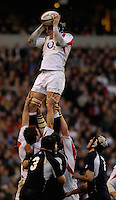 Twickenham, GREAT BRITAIN, Margnus LUND collects the line out ball, during the  England vs Scotland, Calcutta Cup Rugby match played at the  RFU Twickenham Stadium on Sat 03.02.2007  [Photo, Peter Spurrier/Intersport-images]....