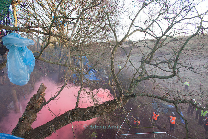 A pink smoke screen  as  the Baliffs arrive  at the Decoy Pond ,  Bexhill Hasting bypass protest.