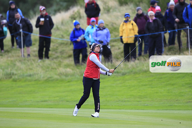 Marina Alex of Team USA on the 2nd fairway during Day 2 Fourball at the Solheim Cup 2019, Gleneagles Golf CLub, Auchterarder, Perthshire, Scotland. 14/09/2019.<br /> Picture Thos Caffrey / Golffile.ie<br /> <br /> All photo usage must carry mandatory copyright credit (© Golffile   Thos Caffrey)