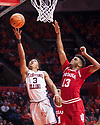 Jan 24, 2018; Champaign, IL, USA; Illinois Fighting Illini guard Te'Jon Lucas (3) shoots defended by Indiana Hoosiers forward Juwan Morgan (13) during the first half at State Farm Center. Mandatory Credit: Mike Granse-USA TODAY Sports