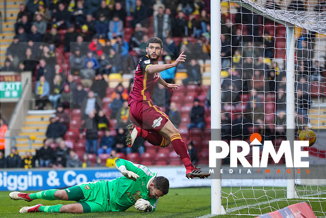 Anthony O'Connor scores but it is ruled offside during the Sky Bet League 1 match between Bradford City and Oxford United at the Northern Commercial Stadium, Bradford, England on 24 November 2018. Photo by Thomas Gadd.