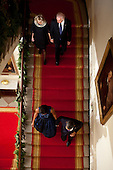 United States President Barack Obama and First Lady Michelle Obama, along with Vice President Joe Biden and Dr. Jill Biden, descend the Grand Staircase before delivering remarks at a Hanukkah reception in the Grand Foyer of the White House, December 8, 2011. .Mandatory Credit: Pete Souza - White House via CNP