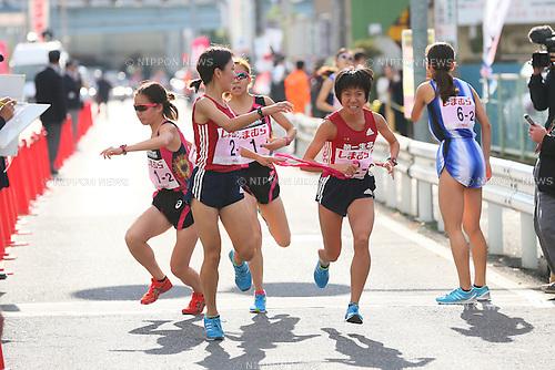 (L to R) <br /> Kaho Nishizawa, <br /> Miyuki Uehara  (Dai-Ichi Life), <br /> NOVEMBER 3, 2014 - Ekiden : <br /> The 25th East Industrial Women's Ekiden Race 2014 <br /> in Saitama, Japan. <br /> (Photo by YUTAKA/AFLO SPORT)