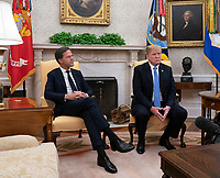 United States President Donald J. Trump meets with the Prime Minster of The Netherlands, Mark Rutte,  at The White House in Washington, DC, July 2, 2018. <br /> CAP/MPI/RS<br /> &copy;RS/MPI/Capital Pictures