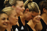 The Silver Ferns line up before the match. From left, Temepara George, Laura Langman, Katrina Grant, Casey Williams and Maree Bowden during the International  Netball Series match between the NZ Silver Ferns and World 7 at TSB Bank Arena, Wellington, New Zealand on Monday, 24 August 2009. Photo: Dave Lintott / lintottphoto.co.nz