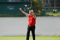 September 24th, 2006. European  Ryder Cup team player Colin Montgomerie celebrates on the 17th green during the singles final session of the last day of the 2006 Ryder Cup at the K Club in Straffan,. County Kildare in the Republic of Ireland...Photo: Eoin Clarke/ Newsfile..