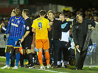 Manager Gareth Ainsworth of Wycombe Wanderers brings off Paul Hayes during the Sky Bet League 2 match between AFC Wimbledon and Wycombe Wanderers at the Cherry Red Records Stadium, Kingston, England on 21 November 2015. Photo by Alan  Stanford/PRiME.