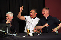Pictured L-R: Unidentified, Lee Trundle and Alan Tate Thursday 08 April 2016<br />Re: Zimkids dinner at the Liberty Stadium, Swansea, UK