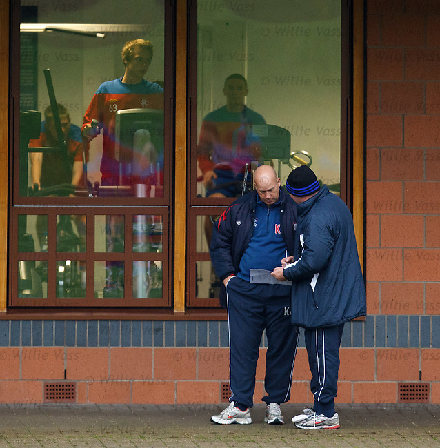 Ian Durrant and Kenny McDowall making up the teams for training