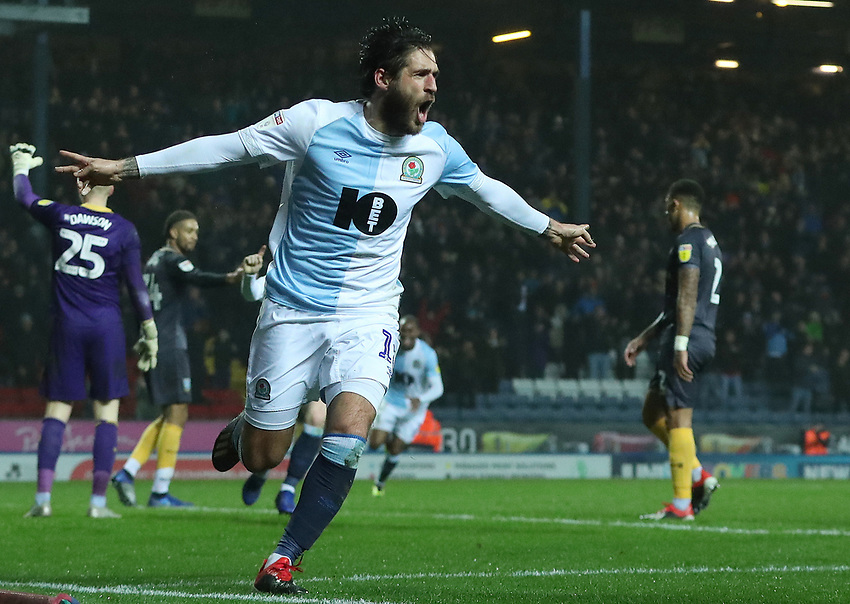 Blackburn Rovers' Danny Graham celebrates scoring his side's third goal <br /> <br /> Photographer Rachel Holborn/CameraSport<br /> <br /> The EFL Sky Bet Championship - Blackburn Rovers v Sheffield Wednesday - Saturday 1st December 2018 - Ewood Park - Blackburn<br /> <br /> World Copyright © 2018 CameraSport. All rights reserved. 43 Linden Ave. Countesthorpe. Leicester. England. LE8 5PG - Tel: +44 (0) 116 277 4147 - admin@camerasport.com - www.camerasport.com