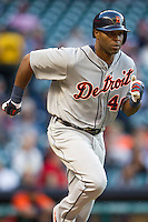 Detroit Tigers outfielder Torii Hunter (48) runs to first base during the MLB baseball game against the Houston Astros on May 3, 2013 at Minute Maid Park in Houston, Texas. Detroit defeated Houston 4-3. (Andrew Woolley/Four Seam Images).