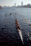 Rowing, the Head of the Charles Regatta, Boston, Charles River, Massachusetts, New England, USA, Women's Coxed Four beneath the BU Bridge,.