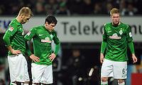 FUSSBALL   1. BUNDESLIGA    SAISON 2012/2013    14. Spieltag   SV Werder Bremen - Bayer 04 Leverkusen                28.11.2012 Aaron Hunt, Zlatko Junuzovic und Kevin De Bruyne (v.l. SV Werder Bremen) sind enttaeuscht