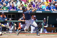 Cal State Fullerton third baseman Jerrod Bravo (12) follows through on his swing during the NCAA College baseball World Series against the LSU Tigers on June 16, 2015 at TD Ameritrade Park in Omaha, Nebraska. LSU defeated Fullerton 5-3. (Andrew Woolley/Four Seam Images)