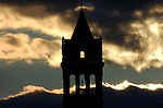 The sun sets behind the old city hall in Williamsport,Pa.