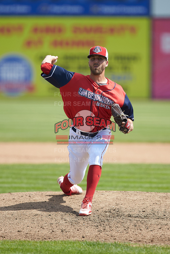 San Bernardos de Salem relief pitcher Hunter Smith (34) in action against the Winston-Salem Dash at Haley Toyota Field on June 30, 2019 in Salem, Virginia. The Dash defeated the San Bernardos 3-2. (Brian Westerholt/Four Seam Images)