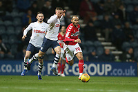 Middlesbrough's Martin Braithwaite battles with Preston North End's Louis Moult <br /> <br /> Photographer Stephen White/CameraSport<br /> <br /> The EFL Sky Bet Championship - Preston North End v Middlesbrough - Tuesday 27th November 2018 - Deepdale Stadium - Preston<br /> <br /> World Copyright © 2018 CameraSport. All rights reserved. 43 Linden Ave. Countesthorpe. Leicester. England. LE8 5PG - Tel: +44 (0) 116 277 4147 - admin@camerasport.com - www.camerasport.com