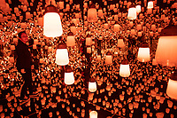 """The """"Forest of Lamps"""" room in Team Lab's Borderless digital museum in Tokyo, Japan, July, 2019. The digital museum is one of Tokyo's most popular attractions and uses innovative digital audio-visual displays."""