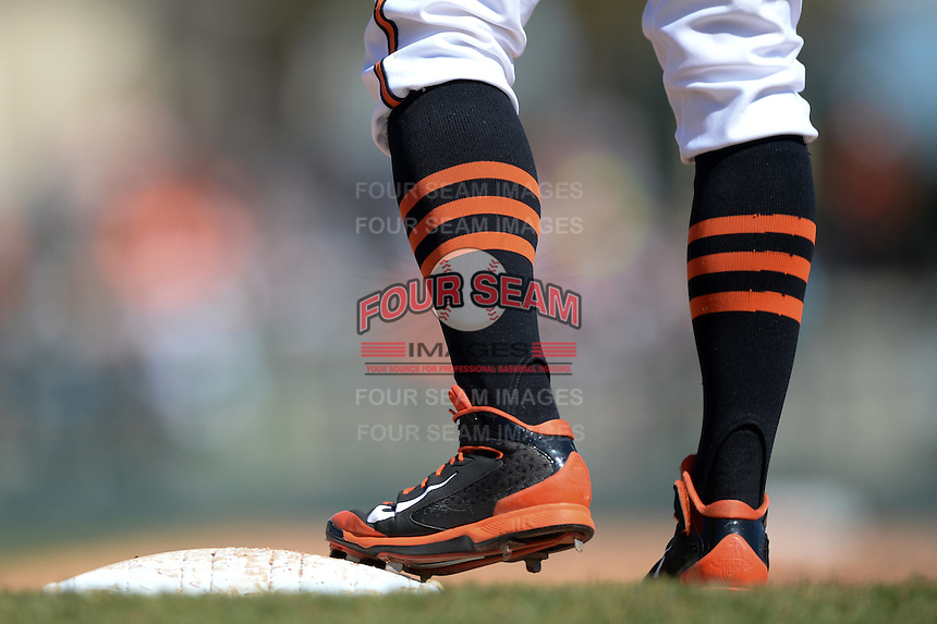 Baltimore Orioles base runner on first during a Spring Training game against the Tampa Bay Rays on March 14, 2015 at Ed Smith Stadium in Sarasota, Florida.  Tampa Bay defeated Baltimore 3-2.  (Mike Janes/Four Seam Images)