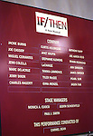 Lobby cast board during the Broadway Opening Night Performance curtain call for  'IF/THEN' at the Richard Rodgers Theatre on March 30, 2014 in New York City.