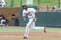 Bowie, MD - May 6, 2018: Bowie Baysox first baseman Aderlin Rodriguez (44) runs to second base during the MiLB game between Akron and Bowie at  Baysox Stadium in Bowie, MD.  (Photo by Elliott Brown/Media Images International)