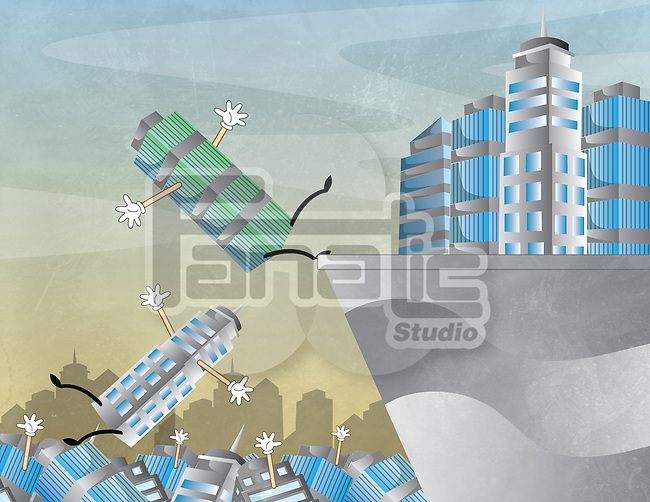 Falling buildings representing the concept of business uncertainty