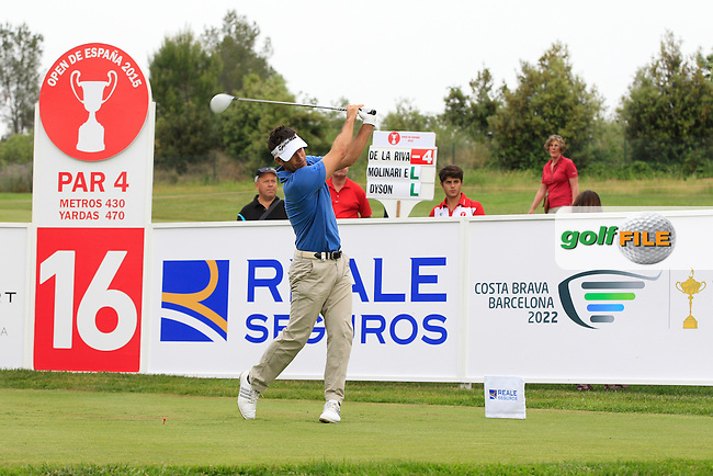 Eduardo De La Riva (ESP) on the 16th tee during Round 1 of the Open de Espana  in Club de Golf el Prat, Barcelona on Thursday 14th May 2015.<br /> Picture:  Thos Caffrey / www.golffile.ie