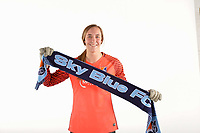 Belmar, NJ - Wednesday March 29, 2017: Caroline Casey poses for photos at the Sky Blue FC team photo day.