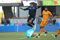 SAN JOSE, CA - JUNE 26: Chris Wondolowski #8, Joe Willisv #23 during a Major League Soccer (MLS) match between the San Jose Earthquakes and the Houston Dynamo on June 26, 2019 at Avaya Stadium in San Jose, California.