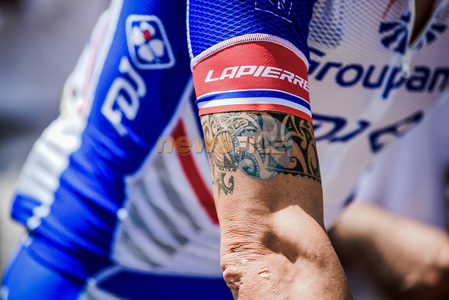 Groupama-FDJ at sign on before the start of Stage 16 of the 2019 Tour de France running 177km from Nimes to Nimes, France. 23rd July 2019.<br /> Picture: ASO/Pauline Ballet | Cyclefile<br /> All photos usage must carry mandatory copyright credit (© Cyclefile | ASO/Pauline Ballet)