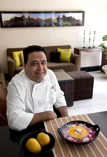 31 May 2102, New Delhi, India:  Renowned chef Manish Mehrotra, of Indian Accent restaurant in the Manor Hotel, with his mango dessert of fresh Alphonso Aamras, Coconut and Jaggery ice cream, puffed rice candy. The dessert made from traditional ingredients includes one of the highest priced mangoes in the country, the Alphonso.  The low yield of mango this year is driving up prices in India.  Picture by Graham Crouch/The National