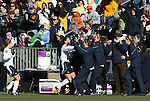 07 December 2008: Notre Dame's Kerri Hanks (center, in white) celebrates her goal with players on the bench. The University of North Carolina Tar Heels defeated the Notre Dame Fighting Irish 2-1 at WakeMed Soccer Park in Cary, NC in the championship game of the 2008 NCAA Division I Women's College Cup.