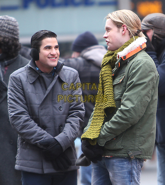 NEW YORK, NY - MARCH 13: Darren Criss and Chord Overstreet on the set of Fox tv's Glee on Times Square in New York City. March 13, 2014.  <br /> CAP/MPI/RW<br /> &copy;RW/ MediaPunch/Capital Pictures