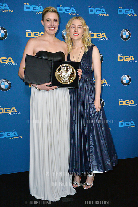 Greta Gerwig &amp; Saorise Ronan at the 70th Annual Directors Guild Awards at the Beverly Hilton Hotel, Beverly Hills, USA 03 Feb. 2018<br /> Picture: Paul Smith/Featureflash/SilverHub 0208 004 5359 sales@silverhubmedia.com