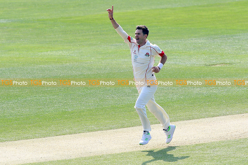 James Anderson of Lancashire celebrates taking the wicket of Tom Westley during Essex CCC vs Lancashire CCC, Specsavers County Championship Division 1 Cricket at The Cloudfm County Ground on 8th April 2017