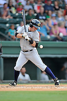 Third baseman Ryan Lindemuth (10) of the Charleston RiverDogs bats in a game against the Greenville Drive on Sunday, August 16, 2015, at Fluor Field at the West End in Greenville, South Carolina. Charleston won, 6-2. (Tom Priddy/Four Seam Images)