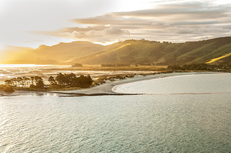 Sunset from Otago Peninsula looking across to Aramoana Beach, at the mouth of the Otago Harbour, near Dunedin, South Island, New Zealand - stock photo, canvas, fine art print