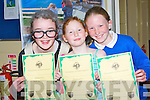 "SKETCH: After their Sketch performance the ""The Skype Machine"", from Derrnane NS Abbie O'Sullivan, Orla Fayen and Siopra O'Shea, who were presented with certificates at Tinteán Theatre, Ballybunion on Sunday in the Scór Na bPaistí, 2013 in association wirth Lee Strand."