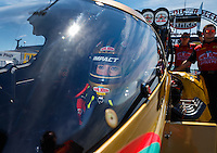 Sep 4, 2016; Clermont, IN, USA; NHRA top fuel driver Leah Pritchett during qualifying for the US Nationals at Lucas Oil Raceway. Mandatory Credit: Mark J. Rebilas-USA TODAY Sports
