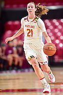 College Park, MD - NOV 16, 2016: Maryland Terrapins guard Sarah Myers (21) brings the ball up court during game between Maryland and Maryland Eastern Shore Lady Hawks at XFINITY Center in College Park, MD. The Terps defeated the Lady Hawks 106-61. (Photo by Phil Peters/Media Images International)
