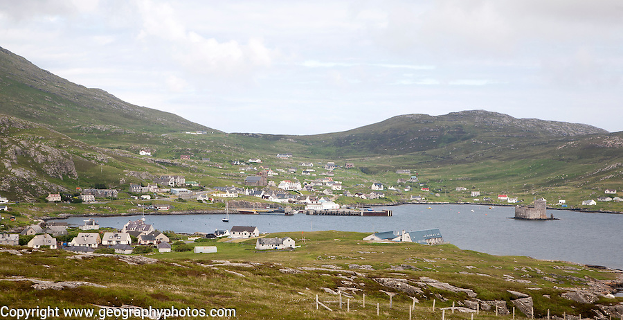 A general view of Castlebay the largest settlement in Barra, Outer Hebrides, Scotland, UK