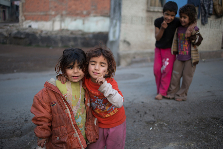 Syrian refugee children in the Suleymaniye neighborhood of Istanbul, many of whom work as beggars. Dozens of families have recently begun squatting in the abandoned and partially demolished buildings, part of an urban renewal project. PHOTO BY JODI HILTON