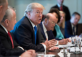 United States President Donald J. Trump speaks to the press during a Cabinet meeting at the White House on December 6, 2017 in Washington, D.C. <br /> Credit: Kevin Dietsch / Pool via CNP