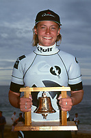 Four times Women's World Surfing Champion Lisa Andersen (USA) after winning the Quit Women's Classic, part of the 1992 Rip Curl Pro at Bells Beach, Torquay, Victoria, Australia. Photo: joliphotos.com