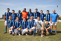 Inter Moore players pose for a team photo - Inter Moore (blue/black) vs Stratford Juniors (white) - East London Sunday League Jubilee Cup Final at Wadham Lodge - 01/05/11 - MANDATORY CREDIT: Gavin Ellis/TGSPHOTO - Self billing applies where appropriate - Tel: 0845 094 6026