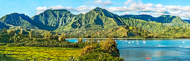 Panoramic view overlooking Hanalei Bay, on the north shore of Kauai, as seen in early morning from the deck of the St. Regis Princeville Resort.