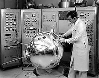 01/01/1963 File Photo -<br /> Weighing 405 lbs. (184 kg), this 35-inch (89-cm) pressurized stainless steel sphere measured the density, composition, pressure and temperature of Earth's atmosphere after its launch from Cape Canaveral on April 3, 1963. The mission was one of three that Goddard Space Flight Center specifically conducted to learn more about the atmosphere's physical properties?knowledge that they ultimately used for scientific and meteorological purposes. Explorer XVII carried two spectrometers, four vacuum pressure gauges and two electrostatic probes. Before it reached its intended orbit that ranged from 158 to 570 miles (254-917 km) above Earth, the satellite was spun up to about 90 rpm.<br /> <br /> Satellite<br /> Keywords:<br /> Explorer<br /> Keywords:<br /> Flight<br /> Keywords:<br /> GSFC<br /> Keywords:<br /> Atmospheric<br /> Keywords:<br /> XVII<br /> Audience:<br /> General Public<br /> facet_what:<br /> Earth<br /> facet_what:<br /> Explorer<br /> facet_where:<br /> Goddard Space Flight Center (GSFC)<br /> facet_when:<br /> April 3, 1963<br /> facet_when:<br /> 01-01-1963<br /> facet_when_year:<br /> 1963<br /> Image #:<br /> G-63-4001<br /> orignial url:<br /> http://grin.hq.nasa?<br /> UID:<br /> SPD-GRIN-GPN-2002-00 0115<br /> Center:<br /> GSFC<br /> Center Number:<br /> G-63-4001<br /> GRIN DataBase Number:<br /> GPN-2002-000115<br /> Creator-Photographer:<br /> NASA<br /> Original Source:<br /> DIGITAL
