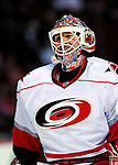 31 March 2010: Carolina Hurricanes' goaltender Manny Legace warms up prior to a game against the Montreal Canadiens at the Bell Centre in Montreal, Quebec, Canada. The Hurricanes defeated the Canadiens 2-1 in their last meeting of the regular season. Mandatory Credit: Ed Wolfstein Photo
